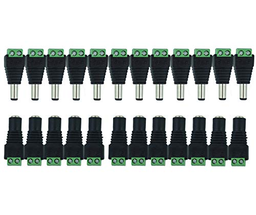 MZMing [12 pares] 12V Macho Hembra DC Conectores eléctricos Adaptador de enchufe utilizado para cámaras CCTV Monitoreo Conectores de tira Conectores de caja de herramientas