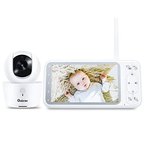 Baby Monitor 5'' 1080P HD Schermo 360° Rotazione 4 Telecamere Estendibile,Gobran Videosorveglianza,Visione Notturna,Attivazione Vocale VOX,Audio Bidirezionale,8 Ninnananne,Sensore di Temperatura