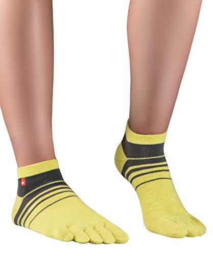 Knitido Track&Trail Spins Calzini sportivi con dita uomo e donna, per sport, running e in scarpe five fingers, Misura:43-46, Colori:giallo / antracite (901)