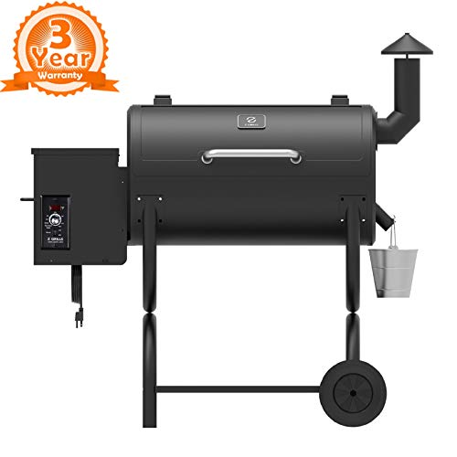 Z GRILLS ZPG-550B 2019 Upgrade Model Wood Pellet Grill & Smoker 6 in 1 BBQ Grill Auto Temperature Control, 550 sq Inch Deal, Black