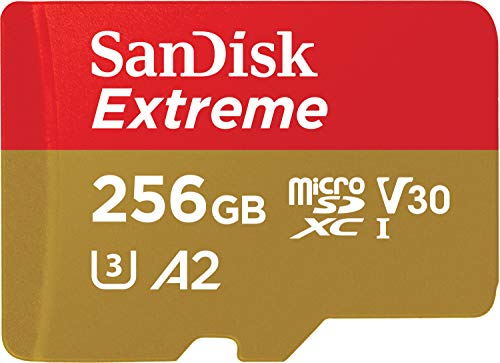 SanDisk Extreme microSDXC 256GB + SD Adapter + Rescue Pro Deluxe 160MB/s A2 C10 V30 UHS-I U3