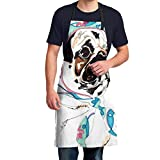 Jianming Pug South Adjustable Neck Bib Aprons with Pockets for Adult Unisex for Home
