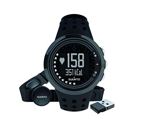 Suunto Herren M5 Fitness-Uhr, Herzfrequenzmesser + Brustgurt, Erweiterte Herzfrequenzfunktionen, Wasserdicht bis 30 m, schwarz, SS018260000