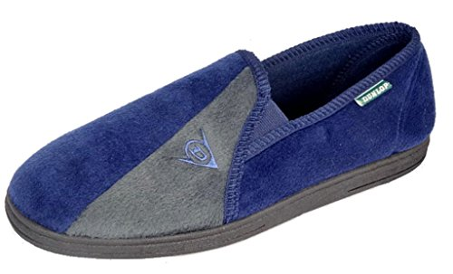 DunlopPantofole Winston II con soletta imbottita super confortevole, blu (Navy/Grey), 44
