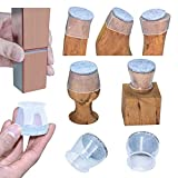 High transparency Chair Leg Covers, Felt Bottom Soft Silicone Furniture Foot Protector Pads, 16 Pcs Free Moving Table Leg Covers, Stool Leg Protectors Caps to Prevent Floor Scratches and Reduce Noise.