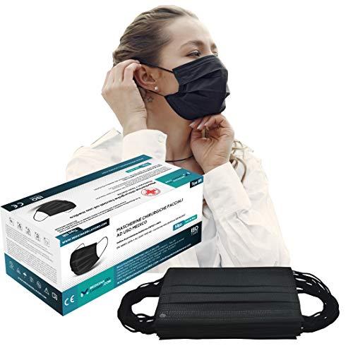 50 Mascherine Chirurgiche Colorate Nere Certificate CE per Uso Medico Tipo IIR, Alta Efficienza Filtraggio BFE≥98,...