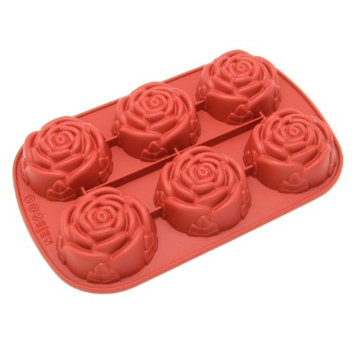 Freshware CB-205RD 6-Cavity Silicone Rose Muffin, Cupcake, Brownie, Cornbread, Cheesecake, Panna Cotta, Pudding, Jello Shot and Soap Mold