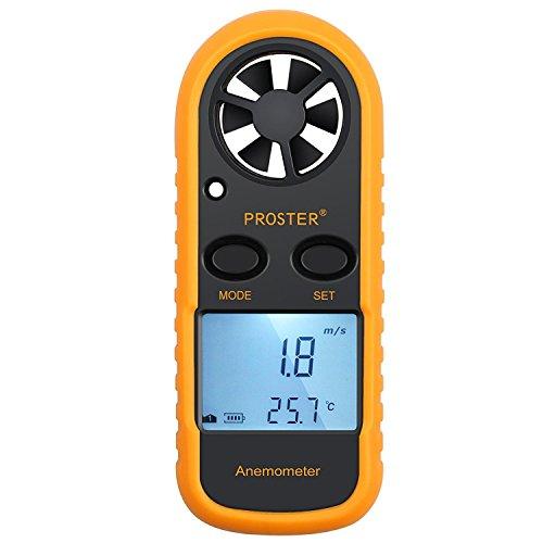 Proster Anemometro Digitale LCD Misuratore Velocit Vento Tester Velocit Flusso Aria Termometro con Retroilluminazione per Windsurf Aquilone Gara Vela Pesca