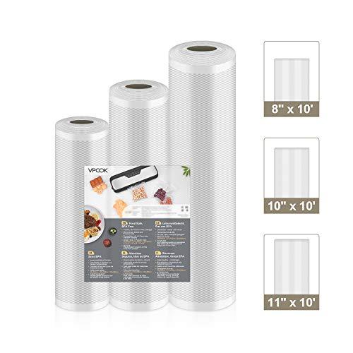 VPCOK Vacuum Sealer Bags 3 Rolls 8 x 10, 10 x 10, 11 x 10 Vacuum Seal Roll 3 Pack BPA Free Fit VPCOK Vacuum Sealer Sous Vide Bags for Food Saver Food Storage Bag Roll Vac Storage Meal Prep