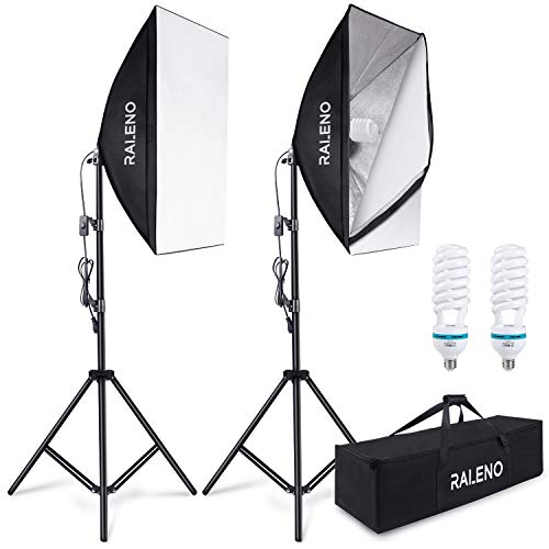 RALENO - Softbox a luce fissa, set da 2, per studio fotografico, softbox con 85 W, 5500 K, con...
