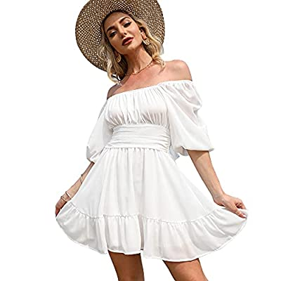 Lightweight, flowy and comfy. A good choice for summer wardrobe. Feature: tie back, open back, square collar, ruched bust, smocked waist, elastic high waist, lantern sleeve, 1/2 sleeve, off shoulder, elastic cuff, above knee length, A line, slim fit,...