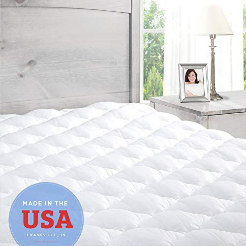 Pillowtop Mattress Topper with Fitted Skirt - Extra Plush Pad Found in Marriott Hotels - Made in The USA, Twin Size