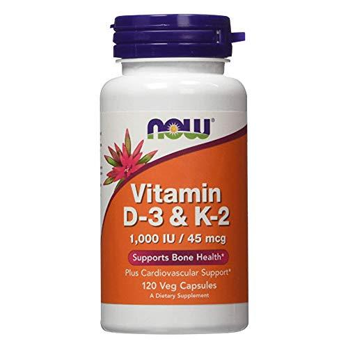 Now Foods Vitamin D3 & K2-1000IU 45mcg Standard - 120 Cápsulas