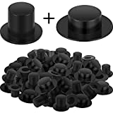 60 Pieces Mini Black Top Hats Plastic Magician Top Hats for Snowman DIY Decoration Party Supplies (1.46 x 0.39 Inch and 0.91 x 0.63 Inch)