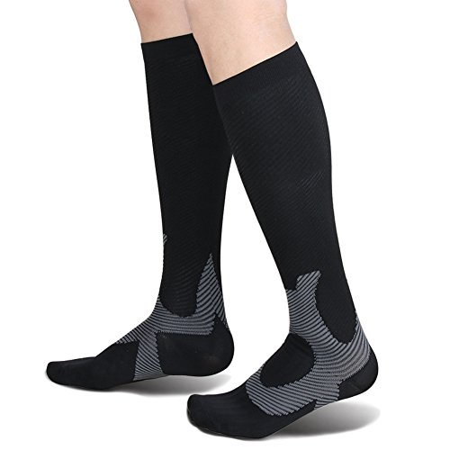 Compression Socks Men & Women 20-25mmHg - 1 Pair for Athletic, Travel, Running, Marathon, Medical, Nurses, Flight