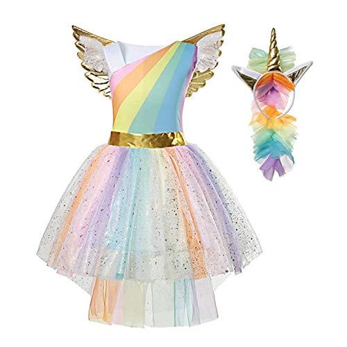 Pretty Princess Disfraz de Unicornio Vestido Princesa para Fiesta Carnaval de Niña 7-8 años (128 cm)