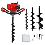 ECO LLC 52cc 2.4HP Gas Powered Post Hole Digger with 3 Earth Auger Drill Bit 4' & 6' & 10'