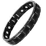 Feraco Pure Titanium Magnetic Therapy Bracelet for Men Arthritis & Carpal Tunnel Pain Relief Elegant 100% Pure Titanium Magnetic Therapy Bracelet Classic Black Bracelet,3500 Gauss Strong Magnets