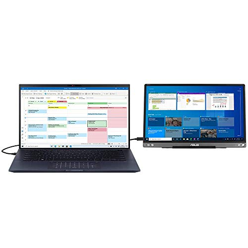 """ASUS ExpertBook B9450 with Secondary Portable Monitor (Full HD 14"""" Laptop, Intel Core i7-10510U, 16GB RAM, 512GB SSD, 24hr Battery, Windows 10 Pro) Includes 15.6"""" Full HD Portable USB-Type C Screen"""