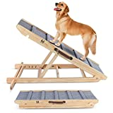 """High Traction Dog Ramp, Folding Portable Wooden Pet Ramp for All Small Large Animals - 42' Long and Adjustable from 14"""" to 26"""" - Rated for 200lbs - Lightweight Dog Car Ramps for SUV, Bed, Couch"""