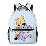 Adhyr Winnie The Pooh Hug Eeyore Mochila Informal con Cremallera Mochila Escolar Mochila de Viaje Hombres Mujeres Adolescentes Regalo