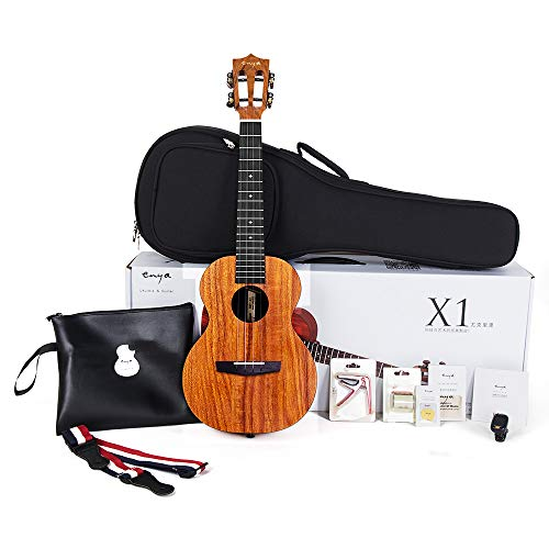 Tenor Acoustic Electric Ukulele Enya EUT-X1+EQ with Pickup (Pre-Amp)  HPL 26 inch Starter Kit with Online Lessons, String,Tuner,Strap,Finger shaker,Gig bag,Capo,Picks,Polishing cloth