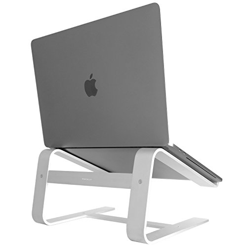 Macally Aluminum Laptop Stand for Desk - Works with all Macbook /Pro/Air & Laptops between 10 to 17.3 - Sleek and Sturdy Laptop Riser - (ASTAND), Silver