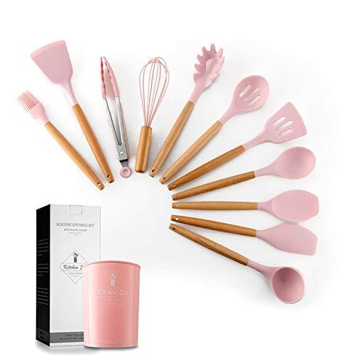 MYMM 11 Pezzi di pentole in Silicone Set Manico in Legno Resistente al Calore Gadget da Cucina Secchio di stoccaggio pentole antiaderenti (Rosa)