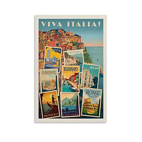 Poster de voyage vintage Viva Italia - Peinture décorative sur toile - Art...