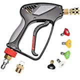 Pressure Washer Short Gun,Commercial Grade 5000 PSI / 10.5 GPM, Best for Gas Power Washer, 3/8' Swivel QC Plug 1/4' Quick Socket, with Spray Nozzle Tips