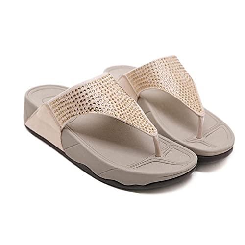 DZQQ Cuero Genuino Mujer Chanclas Antideslizantes Cuñas Sandalias Plataforma Femenina Zapatos de Playa