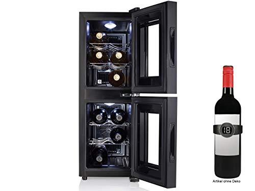 Armadietto per biberon, a 2 zone, per 12 bottiglie, con termometro per vino, 32 litri, con...