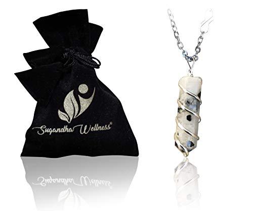 Rainbow Moonstone Crystal Healing Pendant - For Crown Chakra...