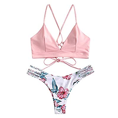 Material:Nylon,Polyester,Spandex.This Braided Strap Flower Bikini Set is made of soft, skin-friendly and stretchy swimsuit fabric, which is very comfortable Please refer to the size information before purchasing or contact us directly if any question...