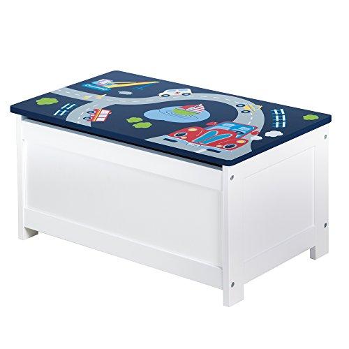 roba Spielzeug-Truhe \'Rennfahrer\', Sitz-& Aufbewahrungs-Truhe fürs Kinderzimmer, Truhenbank Auto blau