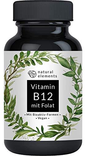 Natural Elements | Vitamine B12 1000μg | Prijswinnaar 2019 | 180 tabletten | Bevat foliumzuur