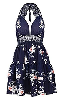 Machine wash gently Deep V neck, above knee length Shoulder straps to make a tie at back of the neck Mini dress features flower pattern overly and cute layer bottom, fit and flare silhouette Hollow out lace splicing waist and back, a beautiful dress ...
