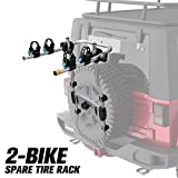 FIERYRED 2-Bike Spare Tire Rack, 75 lb. Capacity Spare Tire Bicycle Carrier, Adjustable Bolt-On Spare Tire Rack, 1 Year Warranty
