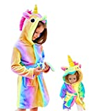 Soft Unicorn Hooded Bathrobe Sleepwear for Matching Doll & Girls (Rainbow, 6-7 Years)