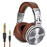 Over Ear Headphone, Wired Premium Stereo Sound Headsets with 50mm Driver, Foldable Comfortable Headphones with Protein Earmuffs and Shareport for Recording Monitoring Podcast PC TV- with Mic (Silver)