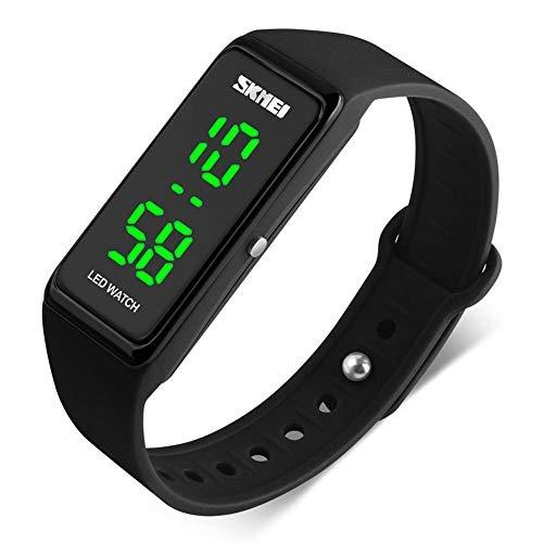 SKMEI LED Sport Digital Wrist Watch 50M Waterproof for Kids Boys Girls Men Women Silicone Bracelet Watch (Black)