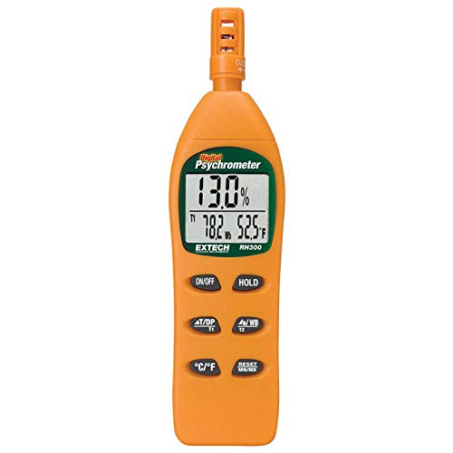 Extech RH300 Hygro-Thermometer Psychrometer, Switchable F/C Temperature Units with 0.1 Resolution, Data Hold Freezes Current Reading on Display, Max/Min Readings