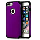 CaseHQ Purple+Black Extreme Heavy Duty case for iPhone 7 Plus,iPhone 8 Plus, Protective Case soft rubber TPU PC Bumper Anti-Scratch Shockproof Rugged Protection Cover for apple iPhone 7/8 Plus phone