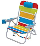 Rio Brands 4-Position Backpack Lace-Up Suspension Folding Beach Chair, Bright Stripe