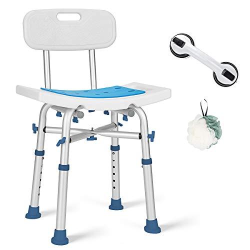 GreenChief 500lb Adjustable Shower Chair with Back, Heavy Duty EVA Padded Bath Seat Free Assist Grab Bar Medical Tool Free Anti-Slip Shower Bench Bathtub Stool for Elderly, Senior, Handicap & Disabled