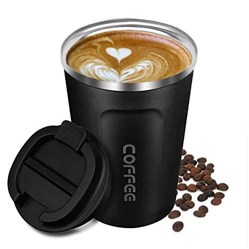 Artlive Isolierte Kaffeetasse, doppelwandige Reisebecher Vakuumisolierung Edelstahl mit auslaufsicherem Deckel Umweltfreundliche Wiederverwendbare Tasse für Kaffee, Tee und Bier 13oz, schwarz