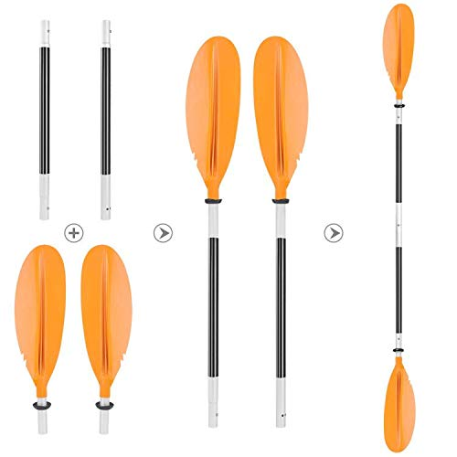 HEIMUNI Doppelpaddel Kajak Paddel mit Verstellbaren Paddelblätter, Kanu Paddel Aluminium Sup Doppelpaddel 220cm Stechpaddel Super Leicht für Schlauchboot, Kanadier Boot Ruderboot (Orange)