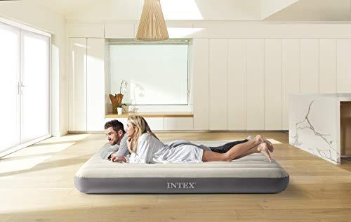 Intex Airbed Materasso Deluxe Singolo Classic Dura Beam con Tecnologia Fiber Tech, Tinta Unita,...