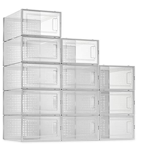 12 Pack Shoe Storage Boxes, Clear Plastic Stackable Shoe...