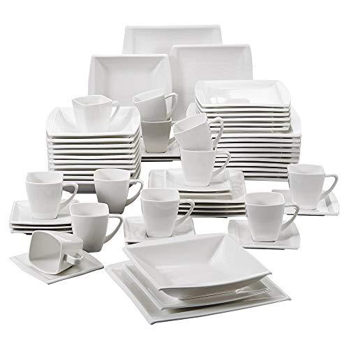 MALACASA, Serie Blance, 60 TLG. CremeWeiß Porzellan Geschirrset Kombiservice Tafelservice mit je 12 Kaffeetassen, 12 Untertassen, 12 Dessertteller, 12 Suppenteller und 12 Flachteller